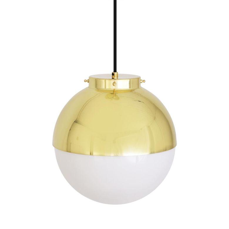 Florence Brass and Glass Globe Pendant Light 26cm, Polished Brass