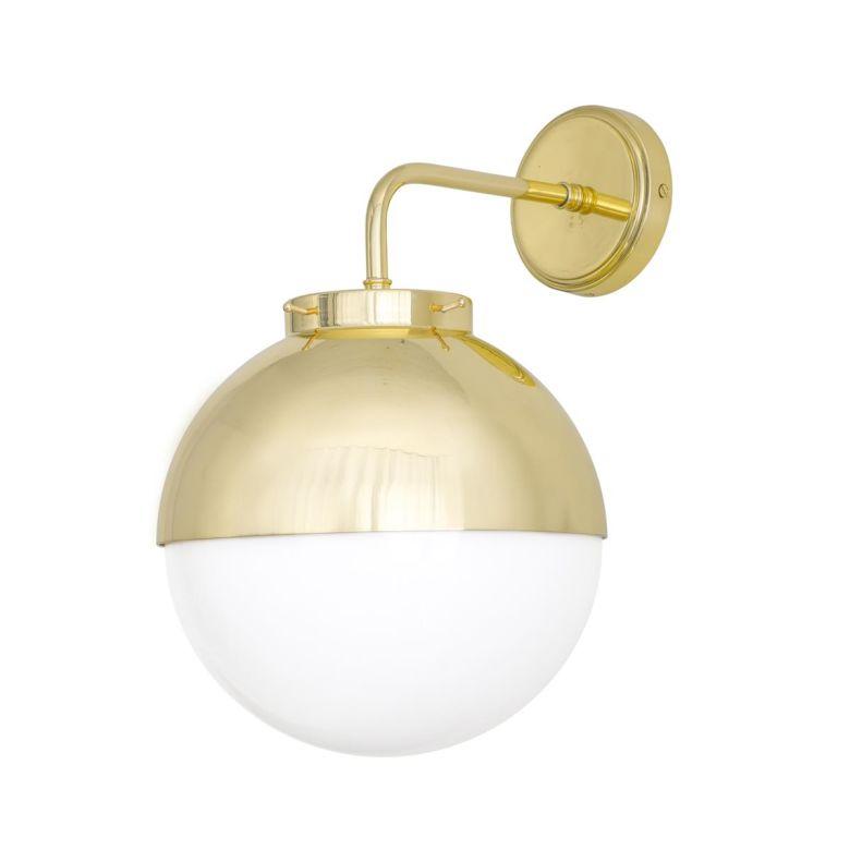 Florence Brass and Glass Globe Wall Light 26cm, Satin Brass