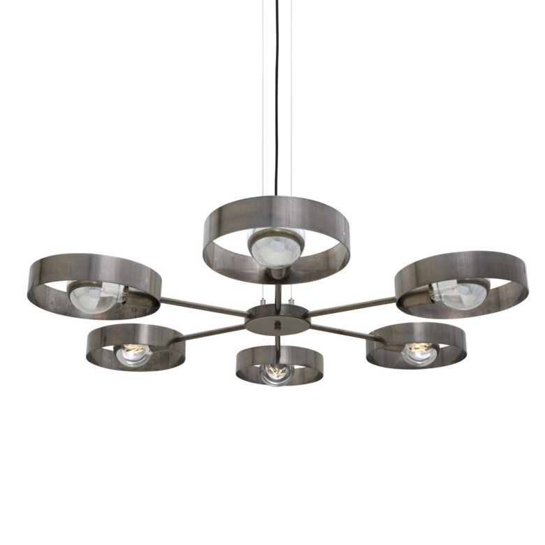 Fossa Industrial Ring Light Chandelier, Six-Arm