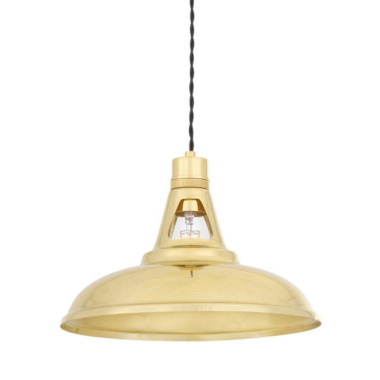 Geneva Vintage Industrial Brass Pendant Light 31cm, Polished Brass