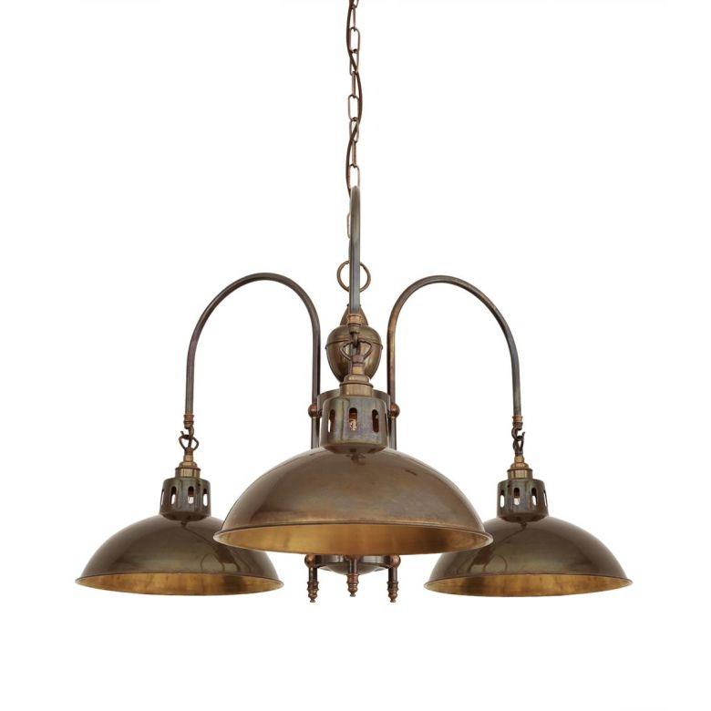 Goiania Industrial Brass Chandelier, Three-Arm