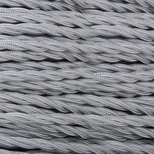 Câble tressé en tissu gris, 3 fils torsadés