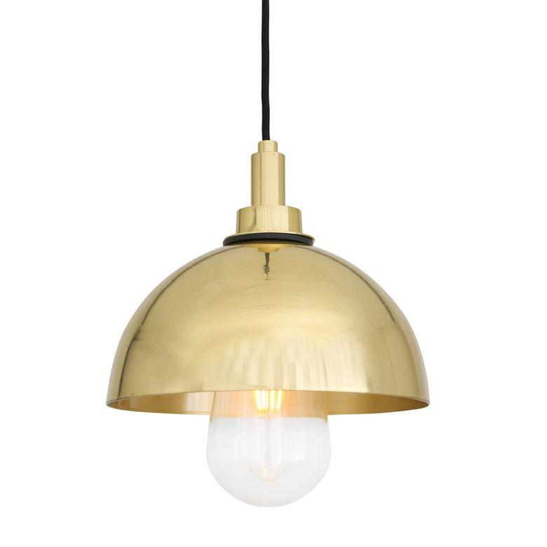 Hydra Brass Dome Bathroom Pendant Light 20cm IP65