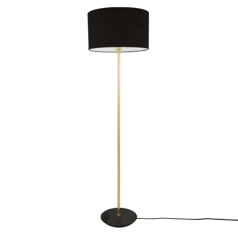 Inch Modern Floor Lamp with Large Drum Black Fabric Shade, Polished Brass and Powder Coated Matte Black Base