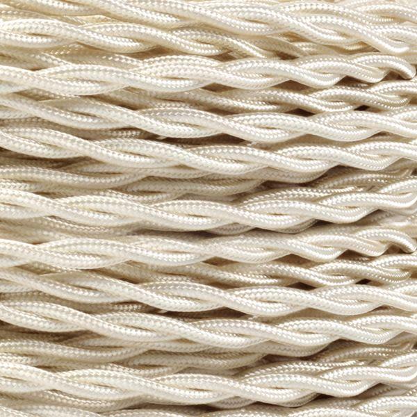 Câble tressé en tissu ivoire, 2 fils torsadés