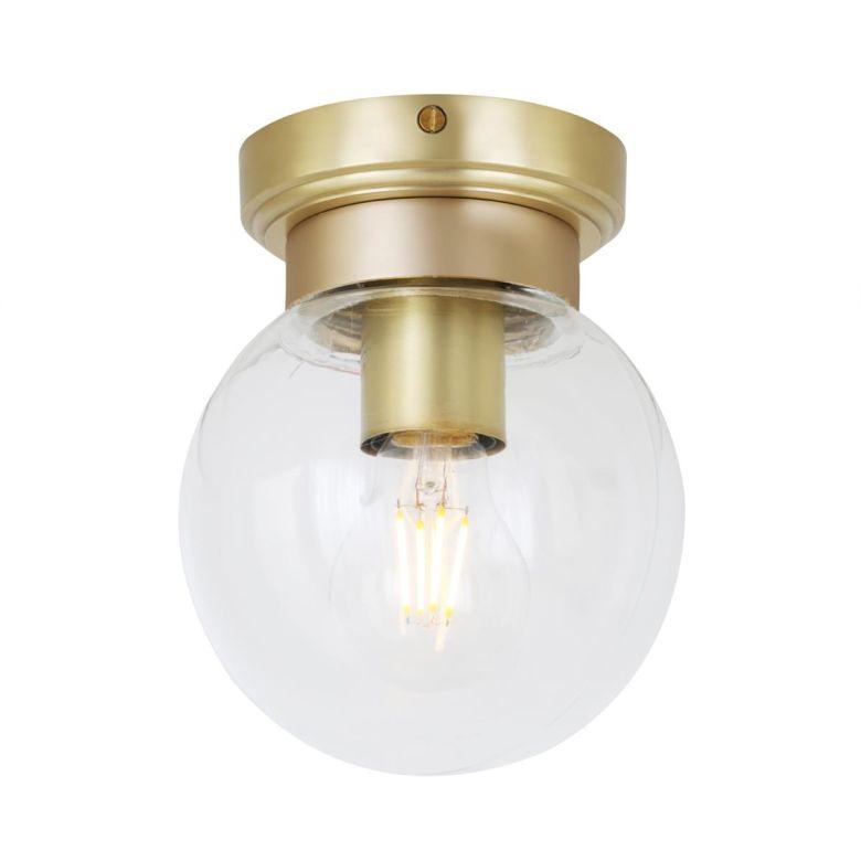 Jordan Clear Globe Ceiling Light IP65, Satin Brass