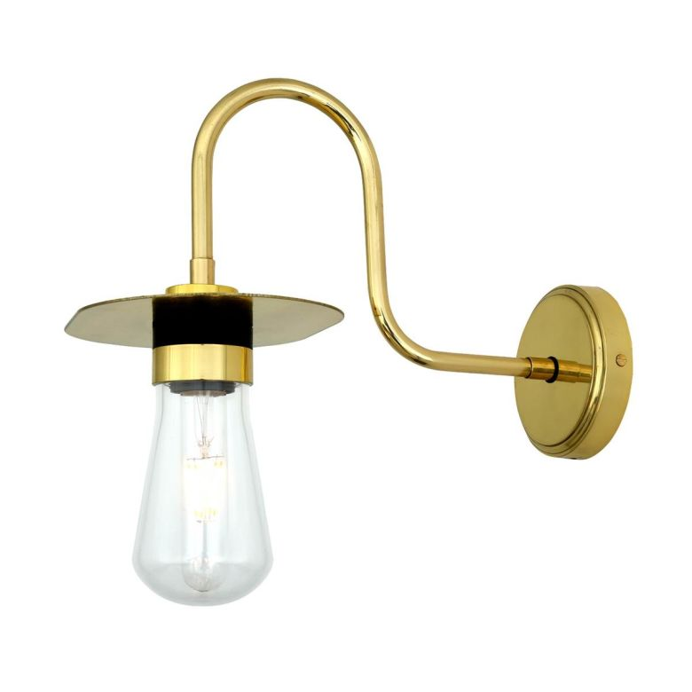 Kai Swan Neck Wall Light IP65 Polished Brass