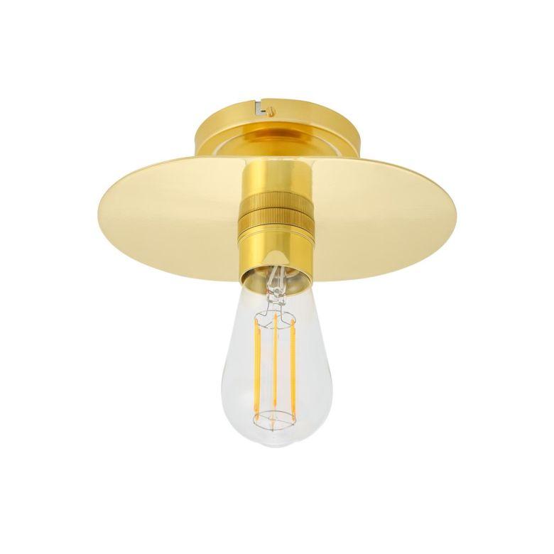 Kigoma Vintage Brass Shade Flush Ceiling Light, Polished Brass