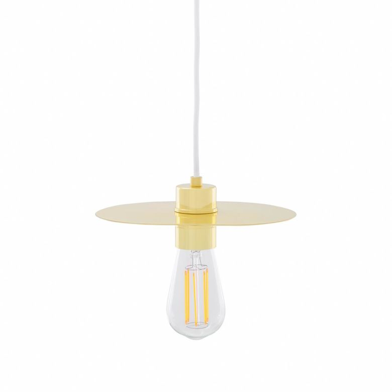 Kigoma Contemporary Brass Pendant Light, Polished Brass and White Cable