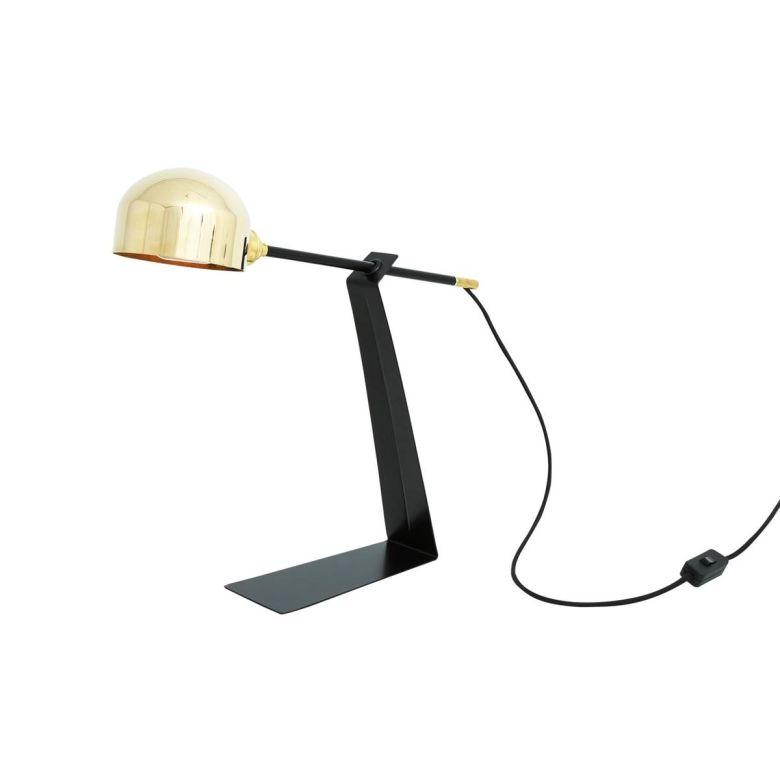 Kingston Modern Adjustable Arm Table Lamp, Polished Brass and Matt Black