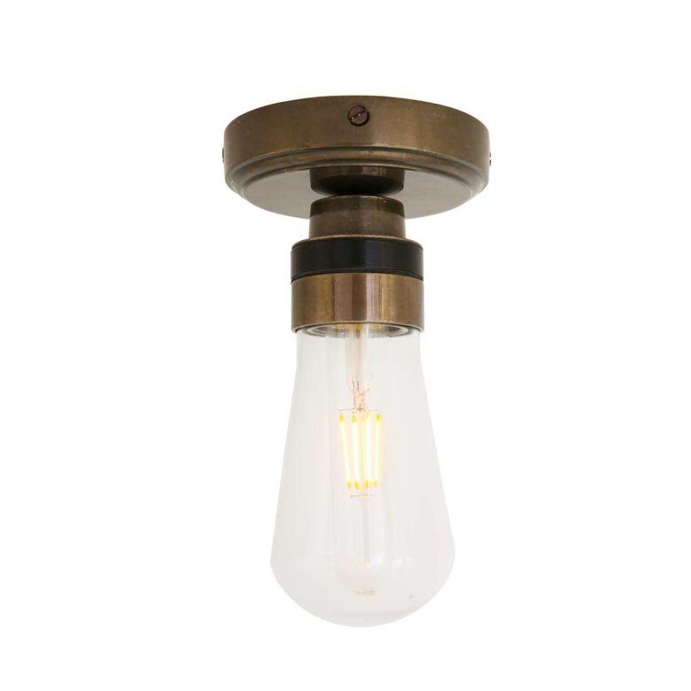 Kura Brass / Glass Bathroom Ceiling Light IP65