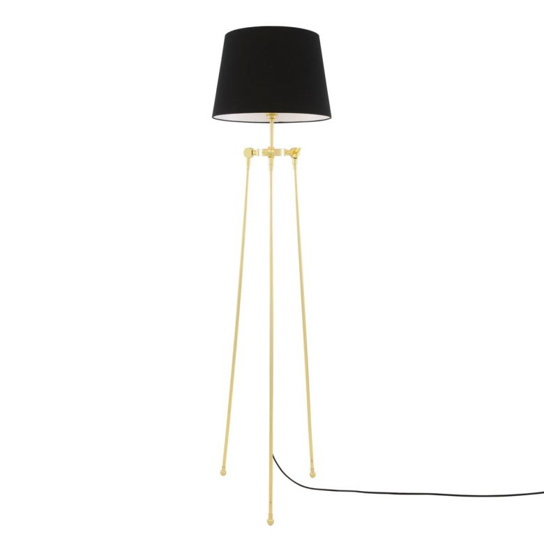 Lismore Tripod Brass Floor Lamp with Black Empire Shade, Polished Brass