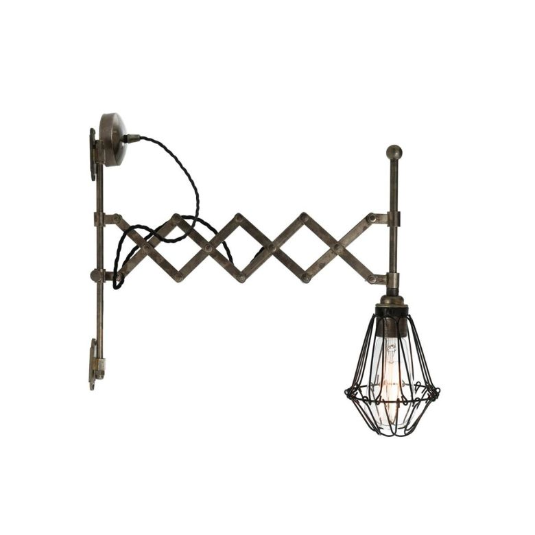 Lonn Extending Scissor Arm Cage Wall Light, Antique Silver and Black Cage
