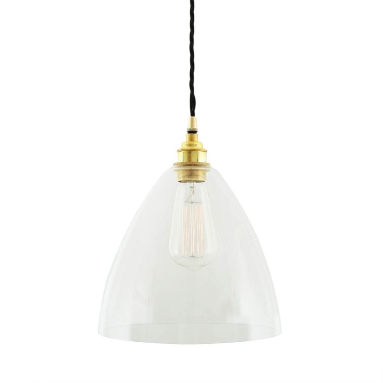 Luang Modern Clear Glass Cone Pendant Light 23cm, Polished Brass