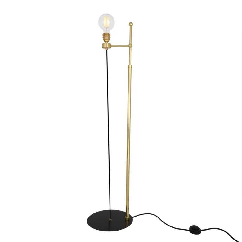 Lusk Modern Industrial Exposed Bulb Floor Lamp, Polished Brass and Powder-Coated Matte Black Base