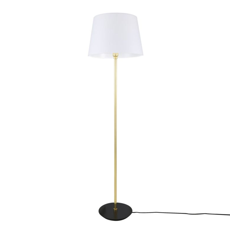 Lyre Modern Brass Floor Lamp with White Fabric Shade