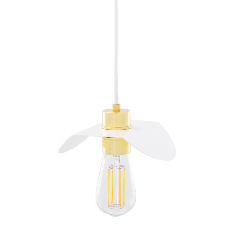 Madaba Modern Brass Pendant Light with White Shade