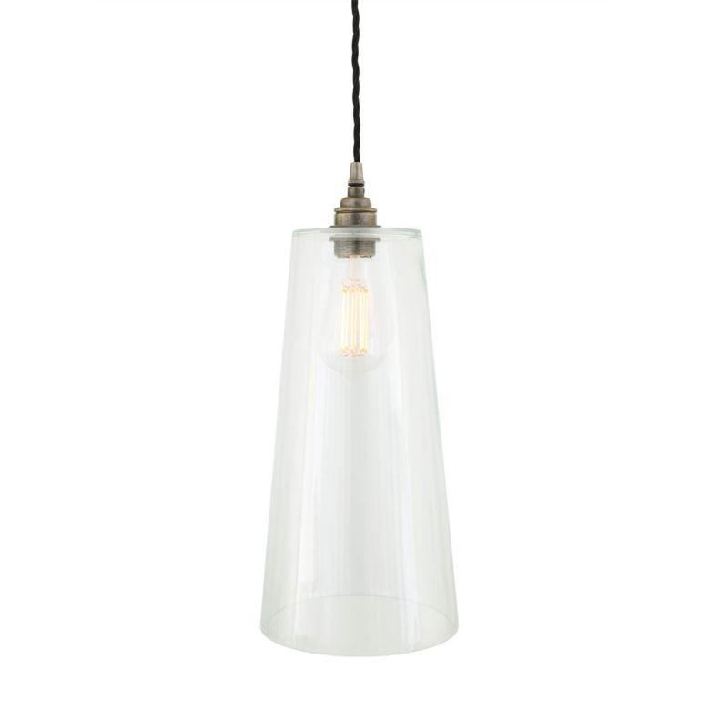 Malang Tall Slender Clear Glass Pendant Light 14cm, Antique Silver