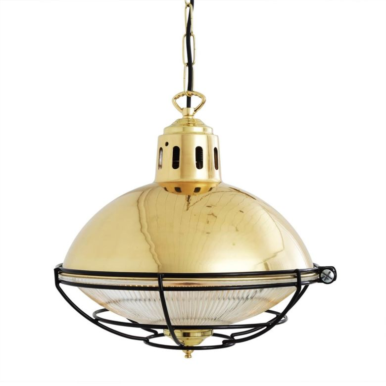 Marlow Industrial Cage Glass Pendant Light 32cm, Polished Brass