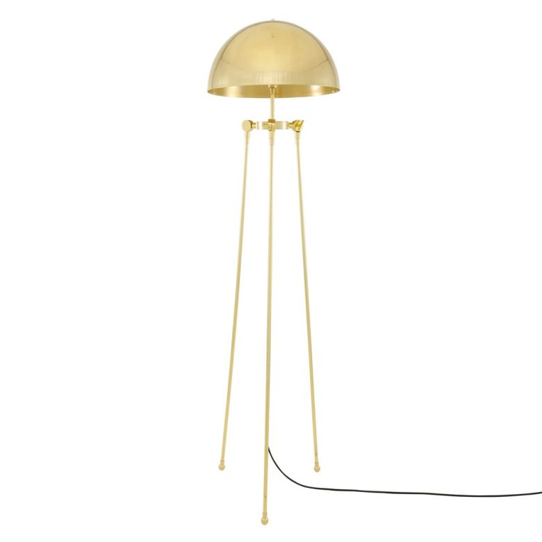 Maua Mid-Century Modern Brass Dome Floor Lamp, Polished Brass