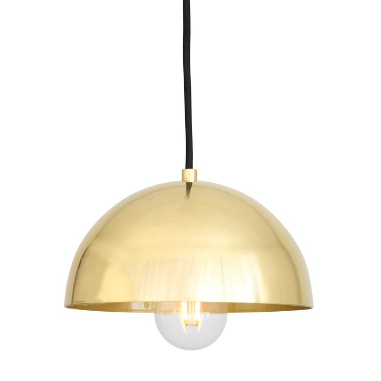 Maua Mid-Century Brass Dome Pendant Light 20cm, Polished Brass