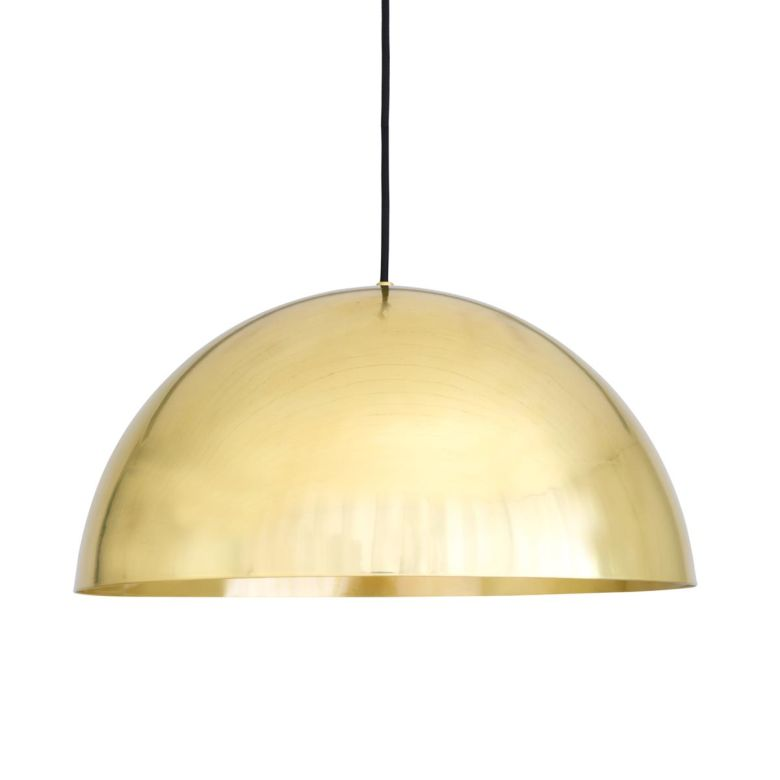 Maua Mid-Century Brass Dome Pendant Light 40cm, Polsihed Brass