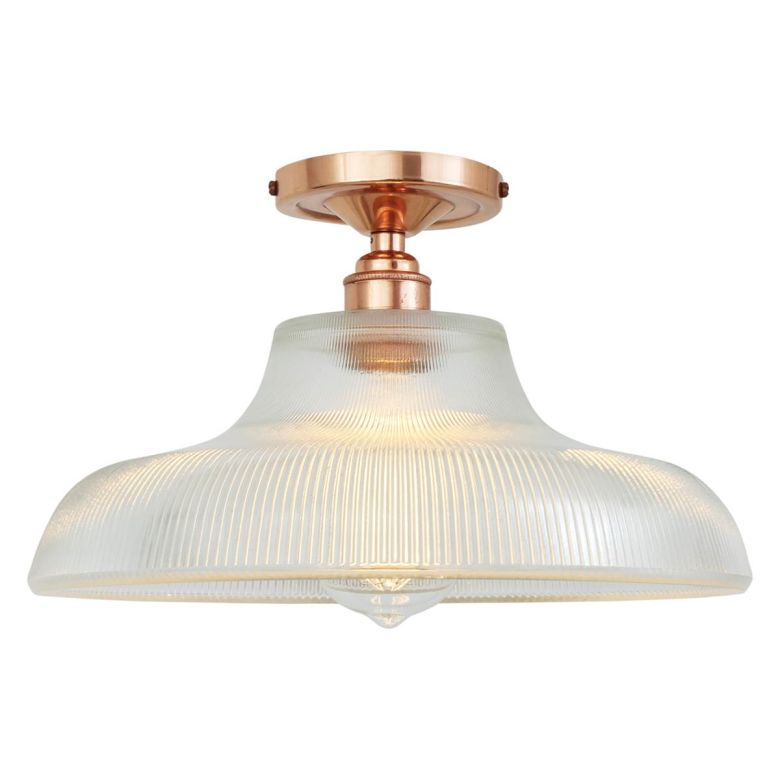 Mono Industrial Holophane Glass Ceiling Light 30cm Polished Copper