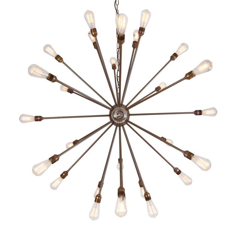 Nagano Large Brass Sputnik Chandelier, 29-Arm
