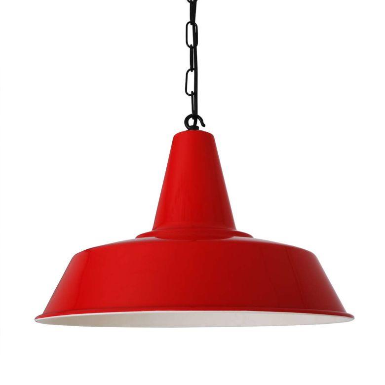 Nassau Industrial Factory Pendant Light 39cm, Powder Coated Red