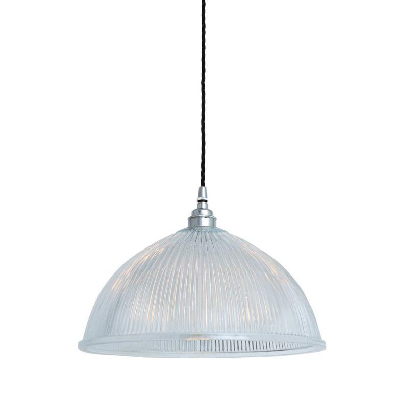 Nova Prismatic Glass Dome Pendant Light 30cm, Polished Chrome