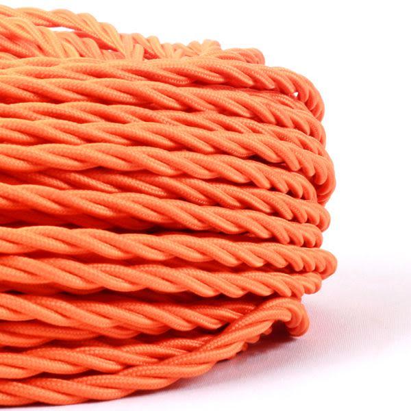 Câble orange flexible tressé et torsadé à 3 brins