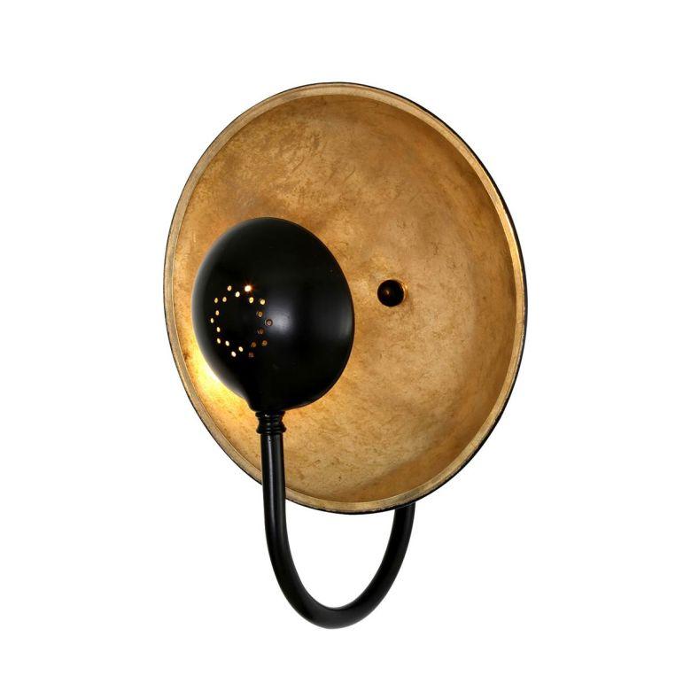 Orebro Vintage Brass Dish Wall Light 25cm, Powder Coated Matte Black