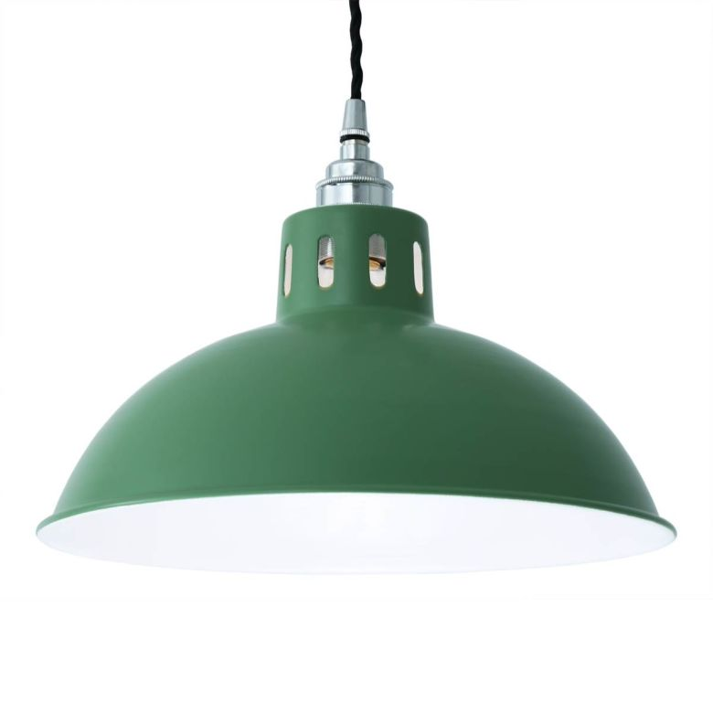 Osson Industrial Factory Pendant Light 30cm, Powder Coated Racing Green