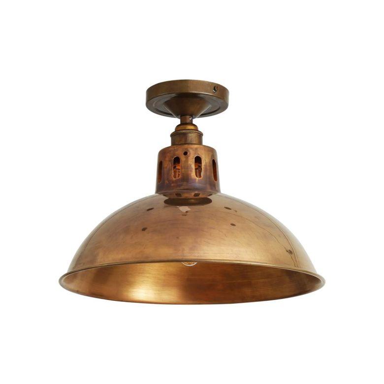 Paris Industrial Vintage Flush Ceiling Light 30cm, Antique Brass