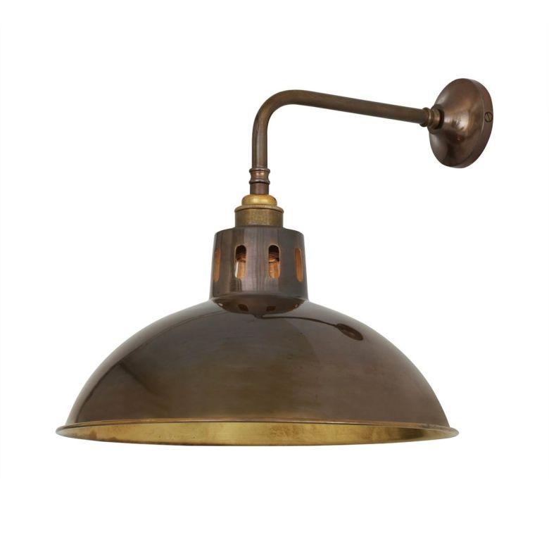 Paris Industrial Brass Wall Light 30cm, Antique Brass