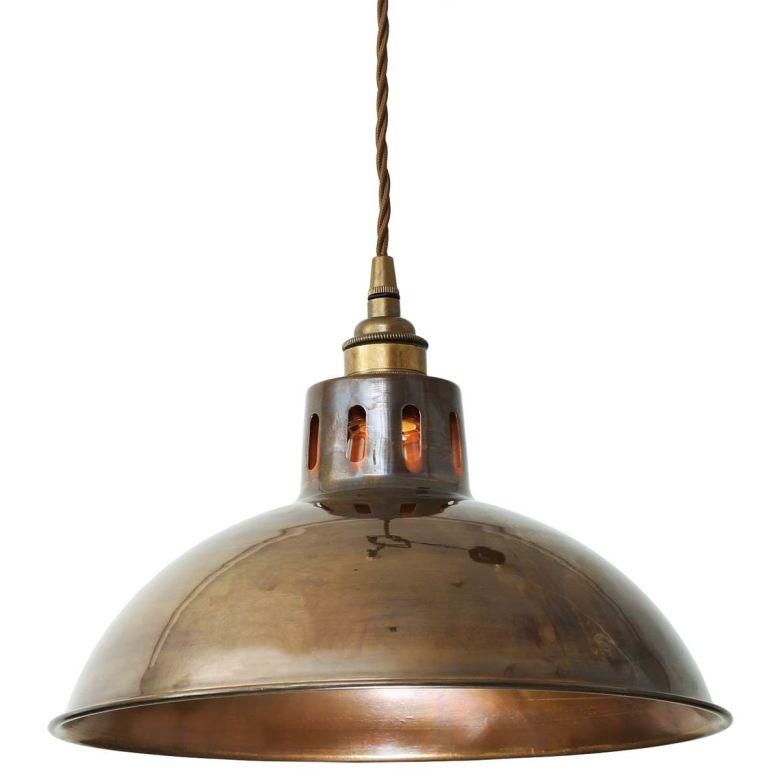 Paris Vintage Industrial Brass Pendant Light 30cm, Antique Brass