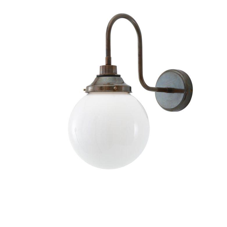 Pelagia Opal Globe Swan Neck Wall Light 20cm IP44