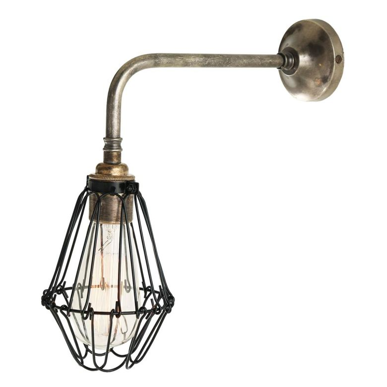 Praia Industrial Cage Brass Wall Light, Antique Silver and Black Cage