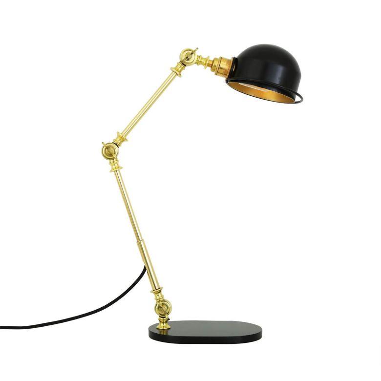 Puhos Adjustable Arm Brass Desk Table Lamp, Polished Brass and Matt Black