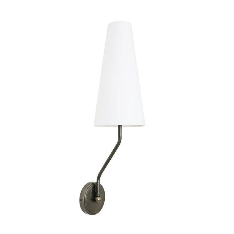 Rhyl Slendor Wall Light with Tall Fabric Shade,  Antique Silver