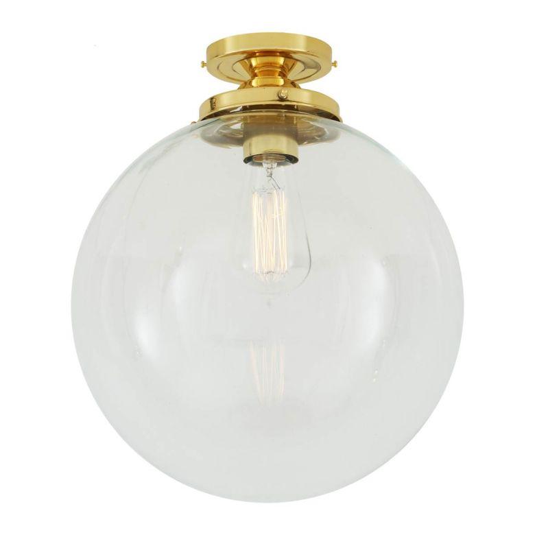 Riad Clear Glass Globe Flush Ceiling Light 30cm, Polished Brass
