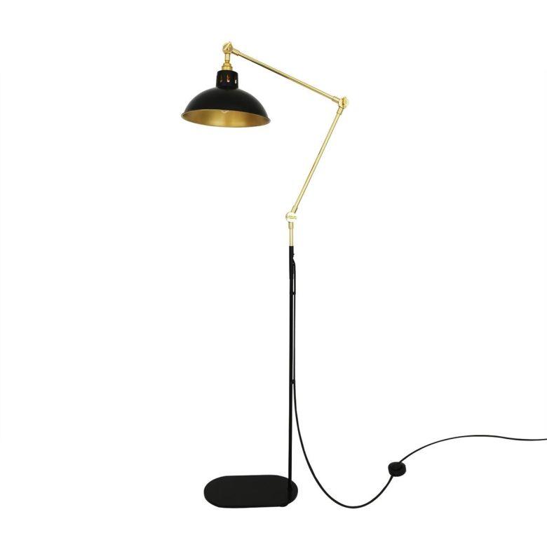 Senglea Adjustable Contemporary Brass Floor Lamp, Polished Brass