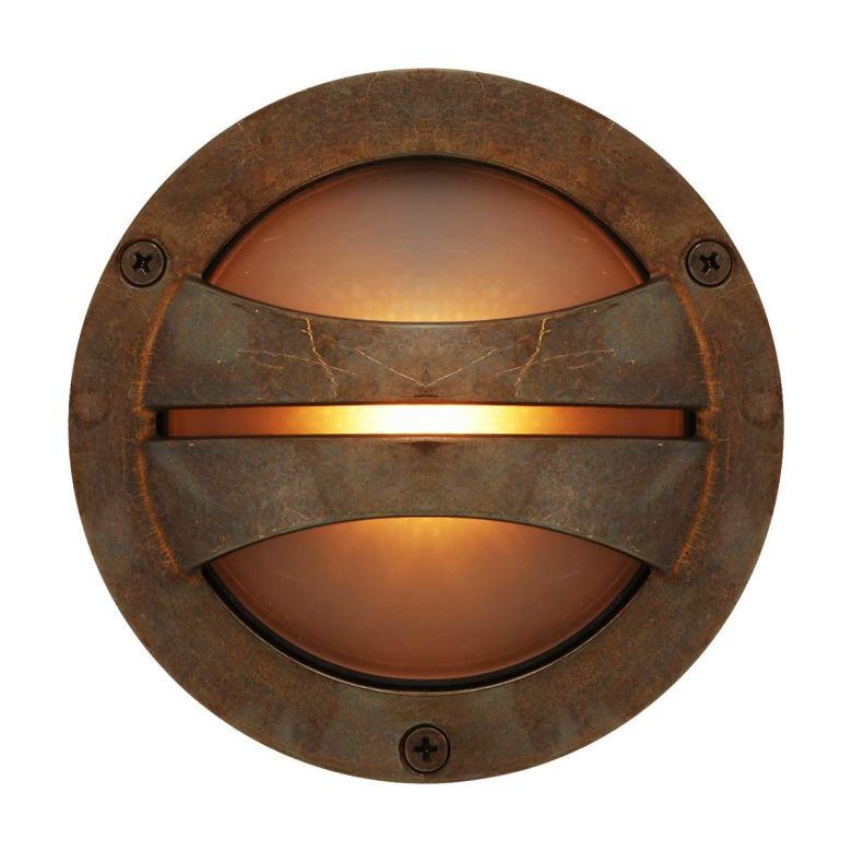 Seri Outdoor Brass Flush Wall Light 14cm IP54, Antique Brass