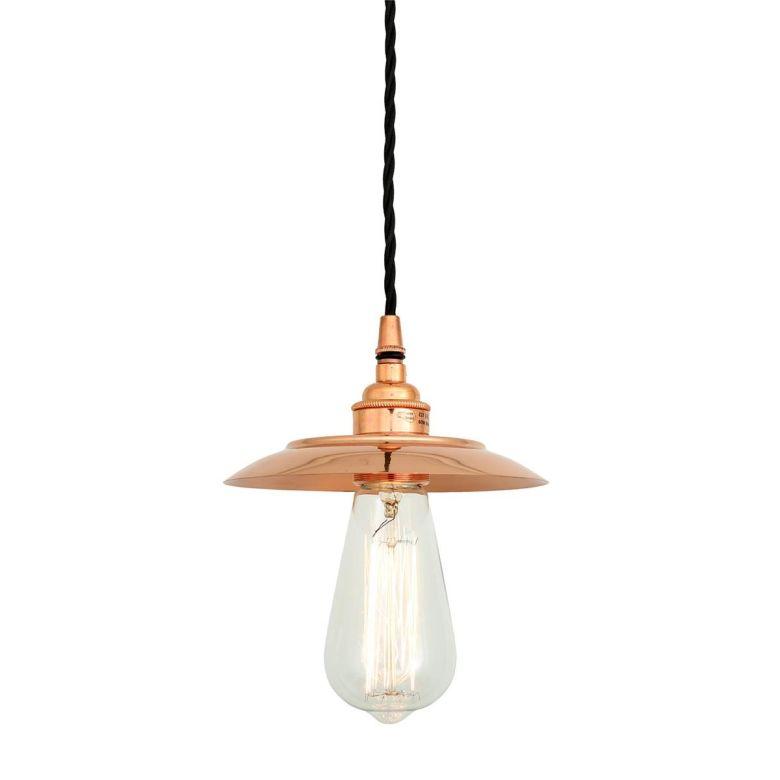 Suva Vintage Copper Bare Bulb Pendant Light, Polished Copper