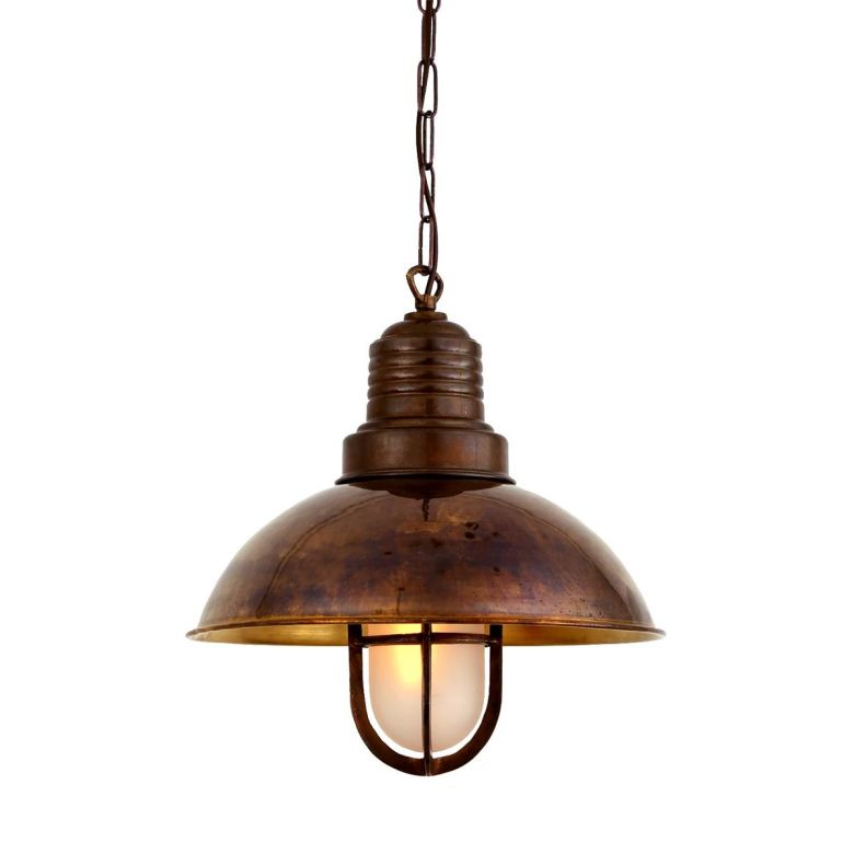 Tirana Deck Industrial Cage Pendant Light 30cm, Antique Brass, Frosted Glass