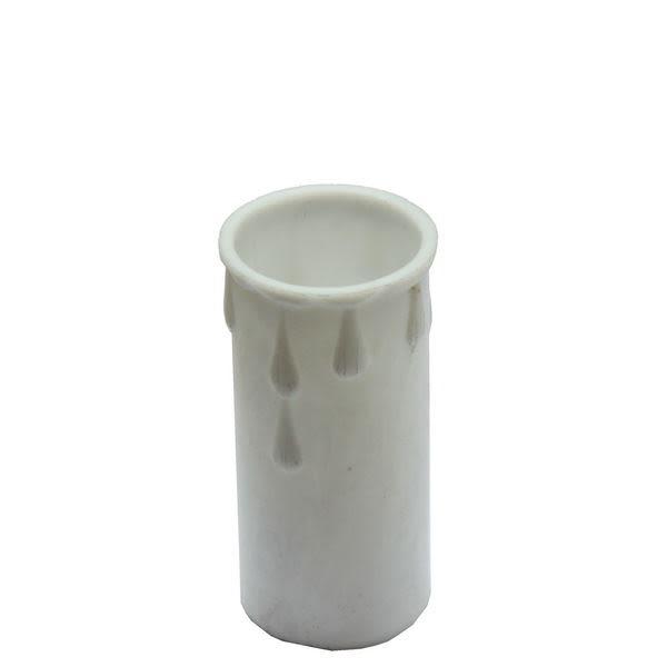 White wax drip plastic candle tube 7cm
