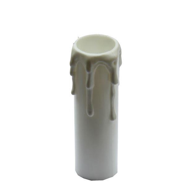 White wax drip plastic candle tube 8.5cm