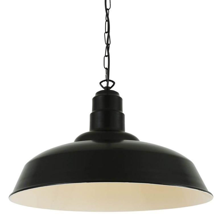 Wyse Industrial Factory Pendant Light 50cm, Powder Coated Matte Black