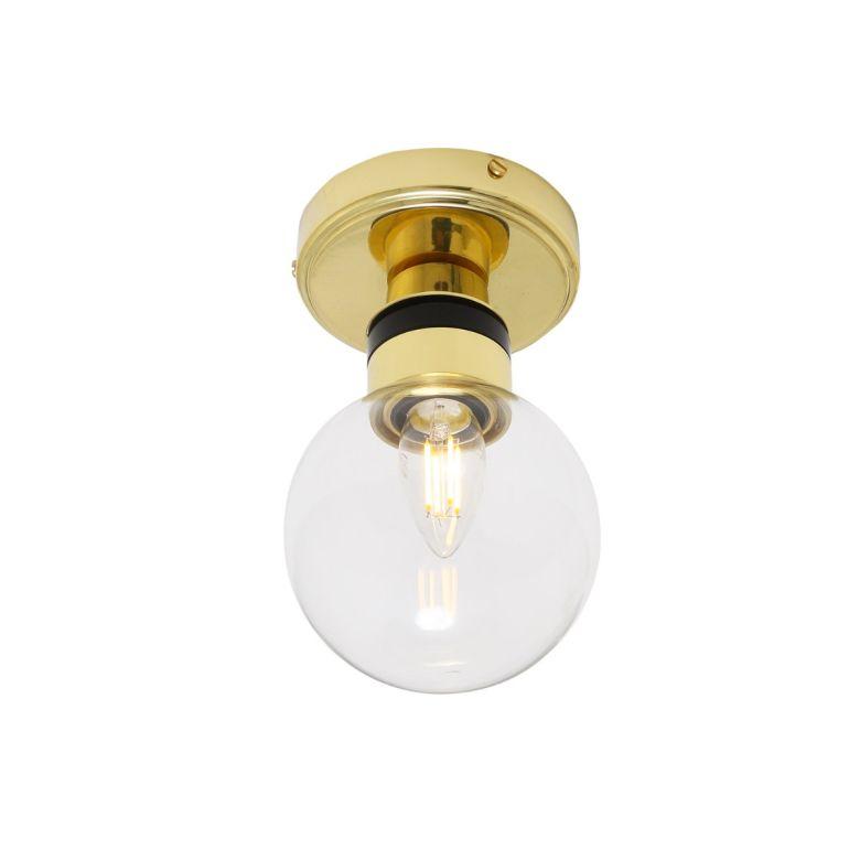 Ayr Small Clear Glass Globe Flush Bathroom Ceiling Light 12cm IP65, Polished Brass