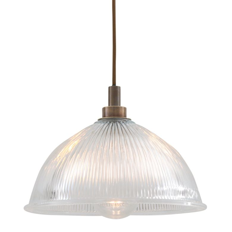 Maris Prismatic Glass Pendant Light IP65, Antique Brass